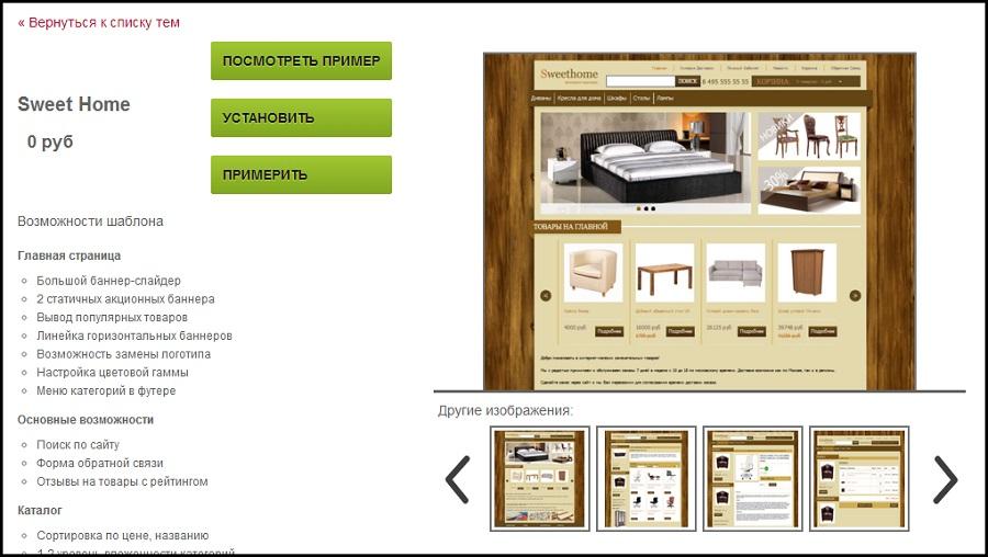 Страница с подробной информацией о теме оформления