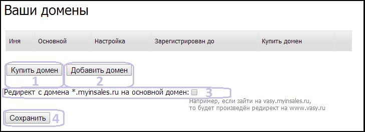 """Страница """"Настройка домена"""""""