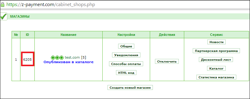 Страница с указанием «Shop ID» вашего интернет-магазина
