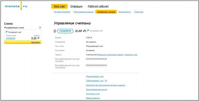 Страница «Управление счетами» в личном кабинете «PayAnyWay»