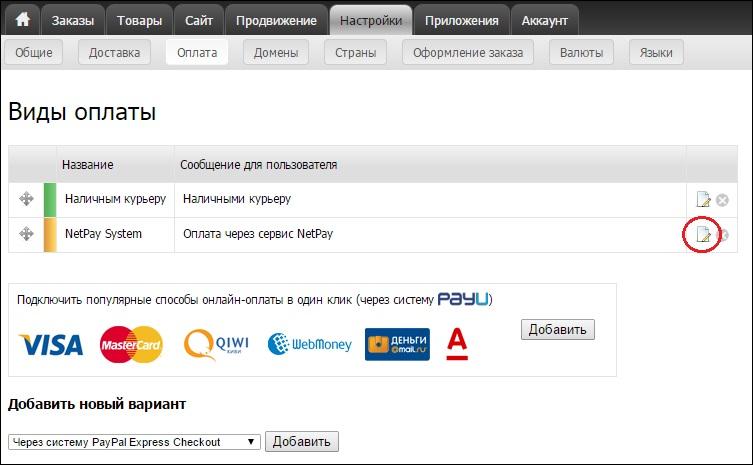 Вид оплаты «NetPay System» в разделе «Оплата»