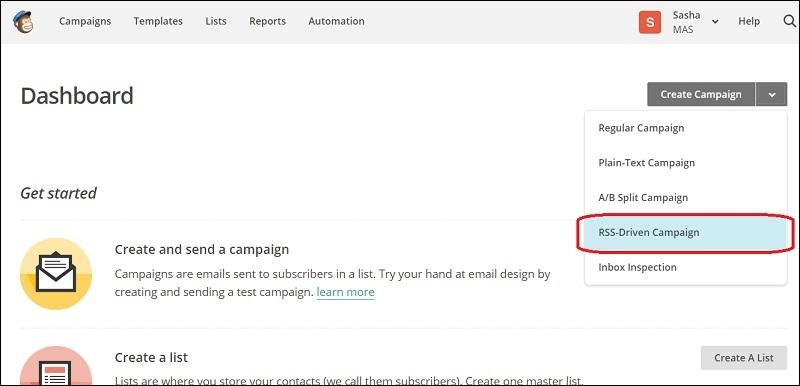 Выбор кампании email-рассылки из RSS-потока в «MailChimp»